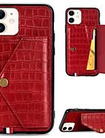 Недорогие -чехол для яблока iphone 11 / iphone 11 pro / держатель карты iphone 11 pro max / с подставкой / магнитная задняя крышка из цельной кожи pu / tpu для iphone xr / xs max / x / 7/8 plus / 6 / 6s plus