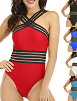 cheap -Women's One Piece Swimsuit Padded Swimwear Bodysuit Swimwear Red Blue Royal Blue Breathable Quick Dry Comfortable Sleeveless - Swimming Surfing Beach Summer / Elastane / Stretchy