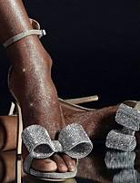 Недорогие -Жен. Свадебная обувь На шпильке Открытый мыс Полиуретан Весна лето Серебряный / Свадьба