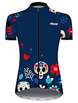 cheap -21Grams Women's Short Sleeve Cycling Jersey Blue Skull Floral Botanical Bike Jersey Top Mountain Bike MTB Road Bike Cycling UV Resistant Breathable Quick Dry Sports Clothing Apparel / Stretchy