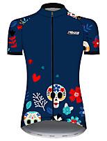 Недорогие -21Grams Жен. С короткими рукавами Велокофты Синий Черепа Цветочные ботанический Велоспорт Джерси Верхняя часть Горные велосипеды Шоссейные велосипеды Устойчивость к УФ Дышащий Быстровысыхающий