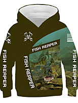 cheap -Kids Boys' Basic Color Block Animal Letter Print Long Sleeve Hoodie & Sweatshirt Army Green