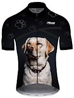 Недорогие -21Grams Муж. С короткими рукавами Велокофты Черный / Белый С собакой Животное Смешной Велоспорт Джерси Верхняя часть Горные велосипеды Шоссейные велосипеды Устойчивость к УФ Дышащий Быстровысыхающий