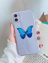 cheap -Case For Apple iPhone 11 11 Pro 11 Pro Max Blue butterfly pattern high-transparent TPU material painting process scratch-resistant mobile phone case