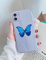 Недорогие -чехол для яблока iphone 11 11 про 11 про макс голубая бабочка с узором прозрачный тпу материал картина процесса устойчивый к царапинам чехол для мобильного телефона