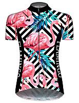 Недорогие -21Grams Жен. С короткими рукавами Велокофты Синий+Розовый В полоску Фламинго Цветочные ботанический Велоспорт Джерси Верхняя часть Горные велосипеды Шоссейные велосипеды / Эластичная / Дышащий