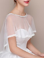 cheap -Short Sleeve Capes Tulle Wedding Shawl & Wrap With Solid