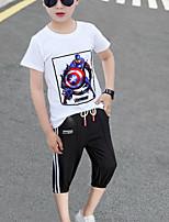 Недорогие -Дети Дети (1-4 лет) Мальчики Классический На каждый день Черное и белое Мультипликация С принтом Кулиска С короткими рукавами Обычный Обычная Набор одежды Белый