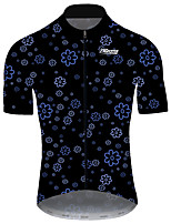 cheap -21Grams Men's Short Sleeve Cycling Jersey Black Floral Botanical Bike Jersey Top Mountain Bike MTB Road Bike Cycling UV Resistant Breathable Quick Dry Sports Clothing Apparel / Stretchy / Race Fit