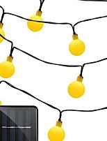 Недорогие -2м Гирлянды 30 светодиоды Тёплый белый Работает от солнечной энергии / Декоративная / Новогоднее украшение для свадьбы Солнечная энергия