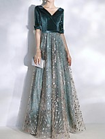 cheap -A-Line Sparkle Turquoise / Teal Wedding Guest Prom Dress V Neck Half Sleeve Floor Length Polyester with Sequin 2020