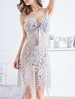 cheap -Women's Lace / Backless / Bow Suits Nightwear Solid Colored Red Black Gray One-Size