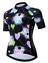 cheap -21Grams Women's Short Sleeve Cycling Jersey Black / Blue Heart Floral Botanical Bike Jersey Top Mountain Bike MTB Road Bike Cycling UV Resistant Breathable Quick Dry Sports Clothing Apparel