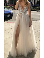 cheap -A-Line Sexy White Engagement Prom Dress V Neck Sleeveless Floor Length Tulle with Beading Split 2020