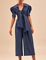 cheap -Jumpsuits Elegant Vintage Homecoming Party Wear Dress V Neck Short Sleeve Tea Length Spandex with Sleek 2020