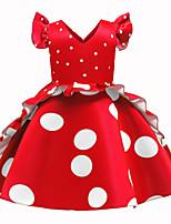 Недорогие -Дети Дети (1-4 лет) Девочки Классический Симпатичные Стиль Горошек Оборки С короткими рукавами До колена Платье Пурпурный