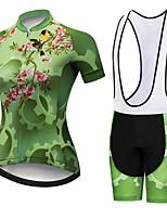 Недорогие -21Grams Жен. С короткими рукавами Велокофты и велошорты-комбинезоны Черный / зеленый Цветочные ботанический Птица Шестерня Велоспорт Наборы одежды Дышащий 3D / Слабоэластичная / Быстровысыхающий