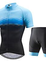 Недорогие -21Grams Муж. С короткими рукавами Велокофты и велошорты Черный / синий Клетки Велоспорт Наборы одежды Устойчивость к УФ Дышащий 3D-панель Быстровысыхающий Впитывает пот и влагу Виды спорта Клетки