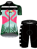 cheap -21Grams Women's Short Sleeve Cycling Jersey with Shorts Pink+Green Stripes Flamingo Floral Botanical Bike Clothing Suit Breathable 3D Pad Quick Dry Ultraviolet Resistant Reflective Strips Sports