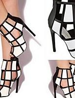cheap -Women's Sandals Stiletto Heel Open Toe PU Summer Black