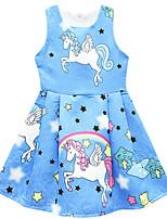Недорогие -Дети Девочки Цветы Симпатичные Стиль Unicorn Мультипликация Многослойный Сетка Без рукавов До колена Платье Розовый