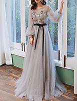 cheap -A-Line Floral Grey Engagement Prom Dress Jewel Neck Long Sleeve Sweep / Brush Train Tulle with Appliques 2020 / Illusion Sleeve