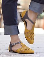 cheap -Women's Sandals Flat Sandal Spring & Summer Flat Heel Round Toe Daily Office & Career PU White / Black / Yellow