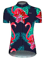 cheap -21Grams Women's Short Sleeve Cycling Jersey Blue+Pink Flamingo Animal Floral Botanical Bike Jersey Top Mountain Bike MTB Road Bike Cycling UV Resistant Breathable Quick Dry Sports Clothing Apparel