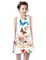 cheap -Kids Girls' Basic Cute Unicorn Floral Animal Cartoon Print Sleeveless Knee-length Dress White