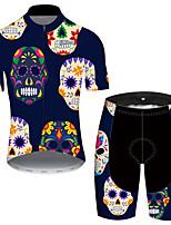 Недорогие -21Grams Муж. С короткими рукавами Велокофты и велошорты Буле / черный Черепа Цветочные ботанический Велоспорт Наборы одежды Устойчивость к УФ Дышащий Быстровысыхающий Впитывает пот и влагу Виды спорта