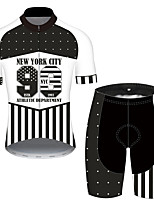 cheap -21Grams Men's Short Sleeve Cycling Jersey with Shorts Black / White Geometic American / USA National Flag Bike Clothing Suit UV Resistant Breathable Quick Dry Sweat-wicking Sports Geometic Mountain