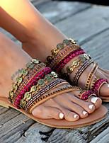 cheap -Women's Slippers & Flip-Flops Flat Heel Open Toe PU Summer Gold