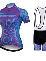 Недорогие -21Grams Жен. С короткими рукавами Велокофты и велошорты-комбинезоны Черный / синий Шестерня Велоспорт Наборы одежды Дышащий 3D / Слабоэластичная / Быстровысыхающий / Горные велосипеды / 3D-панель