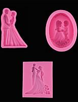 Недорогие -1 шт. Жених и невеста свадебные силиконовые помадка выпечки плесень вставка карты украшения diy