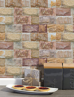 cheap -20x10cmx9pcs Brown Stone Brick Wall Stickers Retro Oil-proof Waterproof Tile Wallpaper For Kitchen Bathroom Ground Wall House Decoration