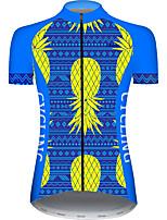 Недорогие -21Grams Жен. С короткими рукавами Велокофты Голубой + Желтый Фрукты Велоспорт Джерси Верхняя часть Горные велосипеды Шоссейные велосипеды Устойчивость к УФ Дышащий Быстровысыхающий Виды спорта Одежда