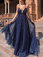cheap -A-Line Sparkle Blue Party Wear Formal Evening Dress Spaghetti Strap Sleeveless Sweep / Brush Train Tulle with Pleats Sequin 2020
