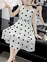 cheap -Kids Girls' Cute Street chic Polka Dot Patchwork Patchwork Print Sleeveless Dress White