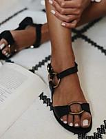 cheap -Women's Sandals Flat Sandal Summer Flat Heel Open Toe Daily PU Light Brown / Black / Brown