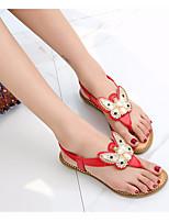 cheap -Women's Sandals Flat Sandal Summer Flat Heel Open Toe Daily PU White / Black / Red