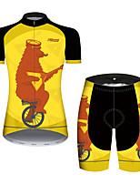 Недорогие -21Grams Жен. С короткими рукавами Велокофты и велошорты Черный / желтый Животное Медведи Велоспорт Наборы одежды Дышащий 3D-панель Быстровысыхающий Ультрафиолетовая устойчивость Впитывает пот и влагу