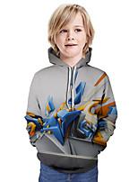 Недорогие -Дети Мальчики Активный Уличный стиль 3D Пэчворк С принтом Длинный рукав Худи / толстовка Цвет радуги