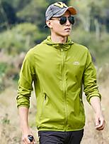 cheap -Men's Hiking Skin Jacket Hiking Jacket Summer Outdoor Patchwork Waterproof Windproof Sunscreen Breathable Jacket Top Spandex Single Slider Running Hunting Fishing Light Grey / Green / Light Blue