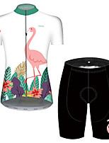 Недорогие -21Grams Жен. С короткими рукавами Велокофты и велошорты Красный / Белый Фламинго Цветочные ботанический Велоспорт Наборы одежды Дышащий 3D / Слабоэластичная / Быстровысыхающий / Горные велосипеды