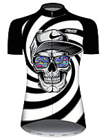 cheap -Aokang Women's Short Sleeve Cycling Jersey Black / White Stripes Novelty Skull Bike Jersey Top Mountain Bike MTB Road Bike Cycling UV Resistant Breathable Quick Dry Sports Clothing Apparel / Stretchy