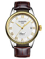 cheap -GUANQIN Men's Mechanical Watch Japanese Automatic self-winding Formal Style Stainless Steel Genuine Leather Black / Silver / Brown 30 m Calendar / date / day Day Date Analog - Digital Fashion -