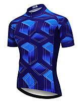 Недорогие -21Grams Муж. С короткими рукавами Велокофты Синий Велоспорт Джерси Верхняя часть Горные велосипеды Шоссейные велосипеды Устойчивость к УФ Дышащий Быстровысыхающий Виды спорта Одежда / Эластичная