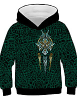 cheap -Kids Boys' Basic Geometric 3D Graphic Print Long Sleeve Hoodie & Sweatshirt Green