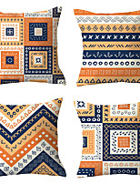 cheap -4 pcs Polyester Pillow Cover, Geometric Plaid Simple Classic Square Traditional Classic
