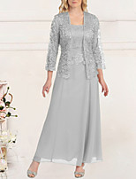 cheap -Sheath / Column Empire Elegant Wedding Guest Formal Evening Dress Scoop Neck Long Sleeve Floor Length Lace with Lace Insert 2020